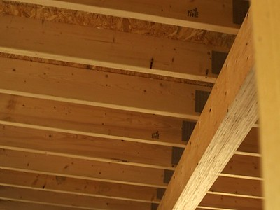 wood ceiling joists holding up roof