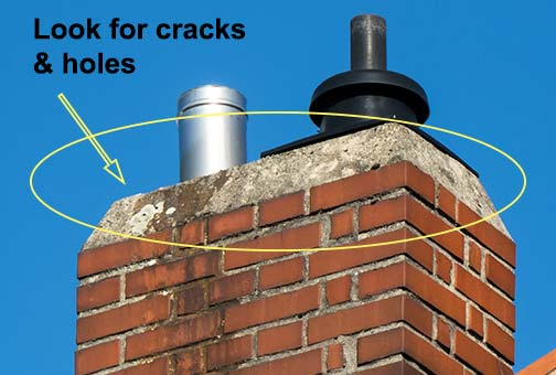 look for cracks and holes on your chimney wash