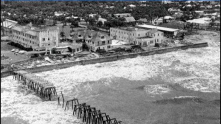 image of hurricane dora 1964 causing tidal waves jacksonville beach fl