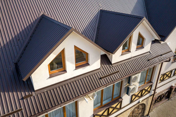 Top View Of Modern House With Two Attic Windows And Metal Roofing Panels Installed