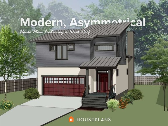 modern asymmetrical home with shed roof